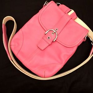 Coach pink leather crossbody bag